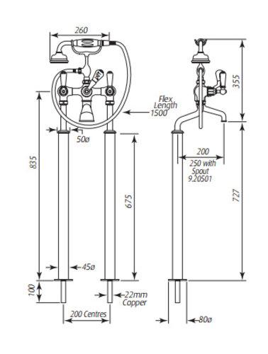 Perrin & Rowe Bad / Dusche Mixer E.3520 / 1 Anschlußbeinchen mit Boden und Griffen