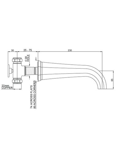 Perrin & Rowe 3-hole wall bath mixer E.3180 with levers