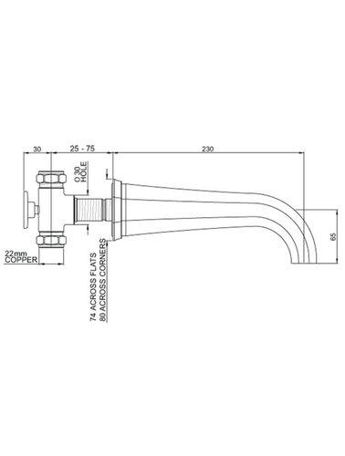 Perrin & Rowe 3-Loch-Wand-Wannenbatterie mit Griffen ausgestattet E.3180