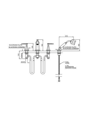 Perrin & Rowe 4-Loch-Wannenbatterie mit Griffen ausgestattet E.3148