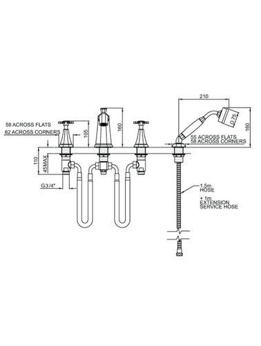 Perrin & Rowe 4-hole bath mixer E.3149 with cross handles