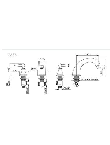 Perrin & Rowe 3-gats badmengkraan E.3655 met hendels