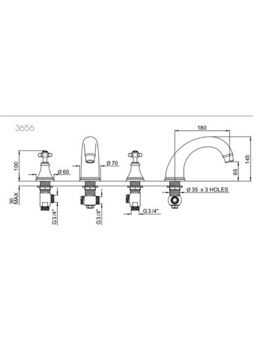 Perrin & Rowe 3-hole bath mixer E.3656 with cross handles