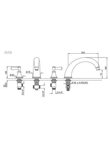Perrin & Rowe 3-gats badmengkraan E.3658 met hendels