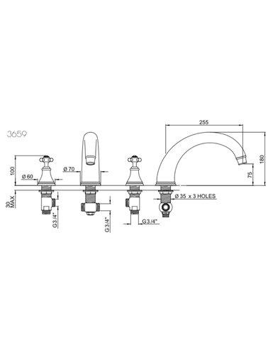 Perrin & Rowe 3-gats badmengkraan E.3659 met kruisgrepen