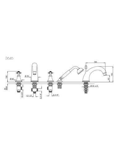 Perrin & Rowe 4-hole bath mixer E.3646 with cross handles and hand shower