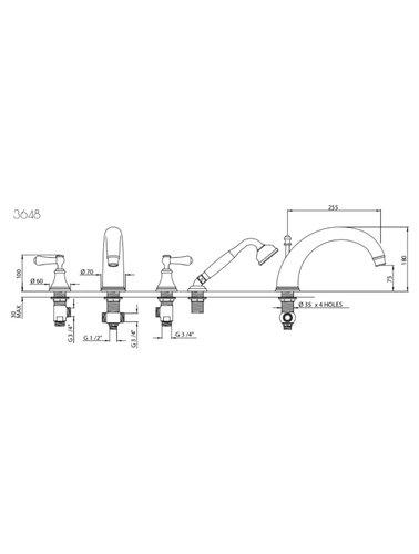 Perrin & Rowe 4-Loch-Bad E.3648 mit Hebeln und Handbrause