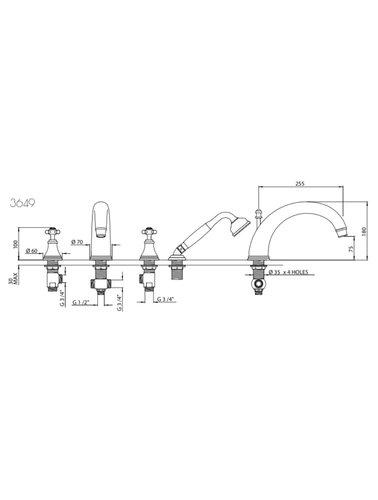 Perrin & Rowe 4-Loch-Bad E.3649 mit Traverse und Handbrause