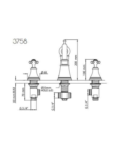 Perrin & Rowe 3-Loch-Bad E.3758 mit Kreuzkopf