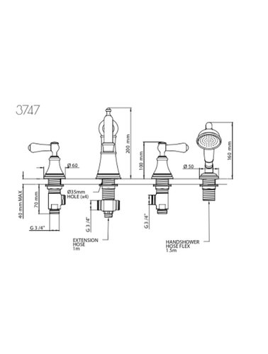 Perrin & Rowe 4-hole bath mixer E.3747 with handles and hand shower