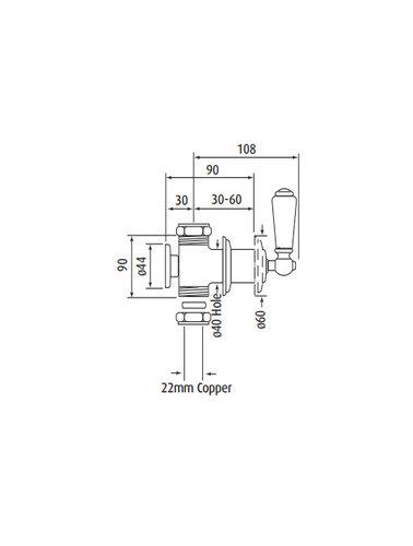Perrin & Rowe Stopkranen E.3230 met porseleinen hendels