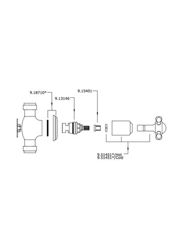 Perrin & Rowe wand stopkranen E.3261 met kruisgreep.