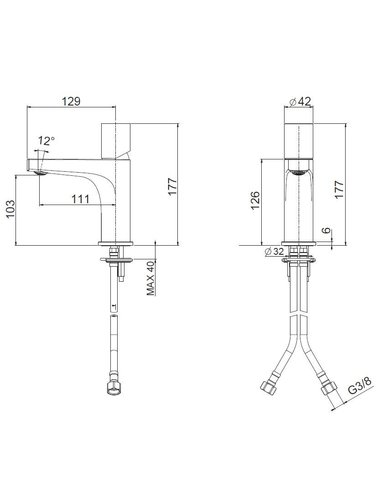 Steel & Brass Industriele 1-gats meng wastafelkraan