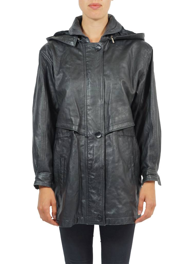 Vintage Coats Leather Suede Hooded Parka S Ladies
