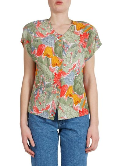 Vintage Tops: Flower Prints Blouses