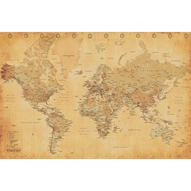 World Map Vintage Style - Maxi Poster