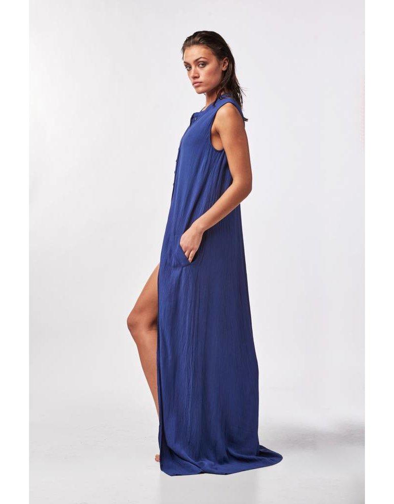 Blauwe maxi jurk