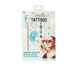 Metallic tattoos turquoise zilver