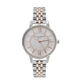 Olivia Burton Zilver/rose gouden horloge met schakelband