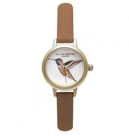 Olivia Burton Gouden horloge met kolibri en bruine band