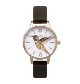 Olivia Burton Rose gouden horloge met bruine band en kolibri