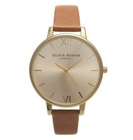 Olivia Burton Goud horloge met bruine band
