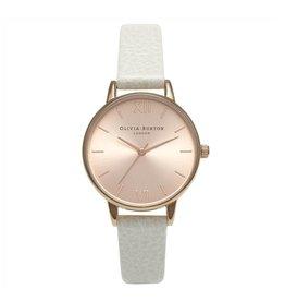 Olivia Burton Rose gouden horloge met witte band