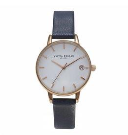 Olivia Burton Rose gouden horloge met blauwe band