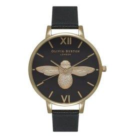 Olivia Burton Gouden horloge met bij en zwarte band