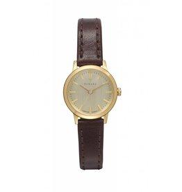 Renard Gouden horloge met bruin leren band klein