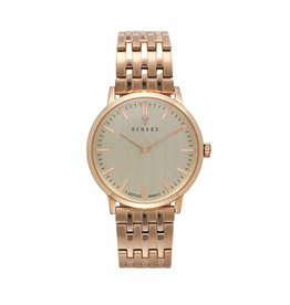 Renard Rose gouden horloge met schakelband