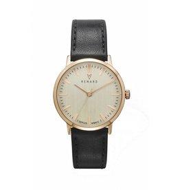 Renard Rose gouden horloge met zwart leren band
