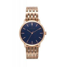 Renard Donkerblauw horloge met rose gouden schakelband