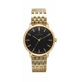 Renard Horloge met gouden schakelband en zwarte klok