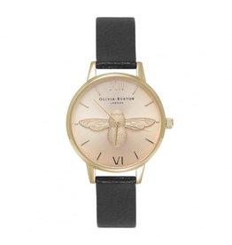 Olivia Burton Klein gouden horloge met bij en zwarte band
