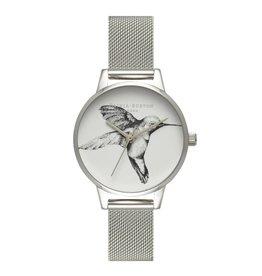 Olivia Burton Zilveren horloge met kolibri