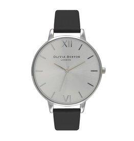 Olivia Burton Zilver horloge met zwarte band