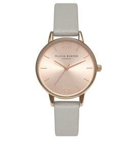 Olivia Burton Rose gouden horloge met grijze band
