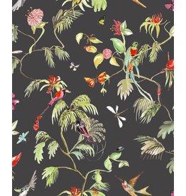 Designed for Living Paradijs van vogels behang zwart/ kleur