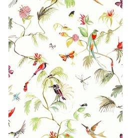Designed for Living Paradijs van vogels behang wit/ kleur