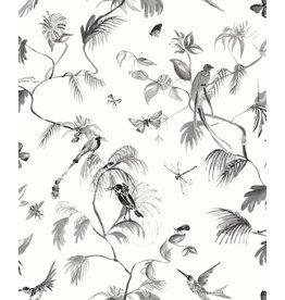 Designed for Living Paradijs van vogels behang zwart/ wit
