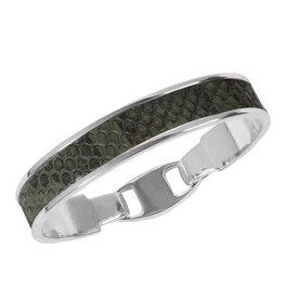 Bandhu Zilveren armband Green Snake