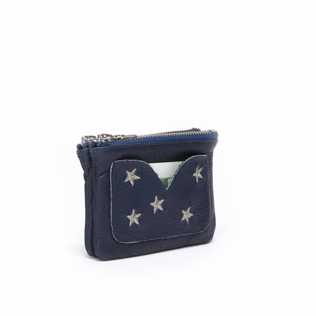 Fabienne Chapot Kleine donkerblauwe portemonnee van leer