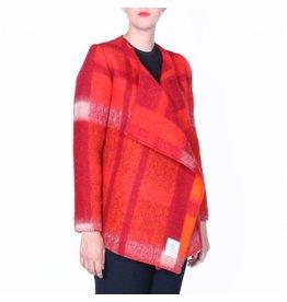 Wintervacht Duurzame rode winterjas van wol