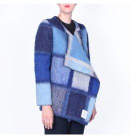 Wintervacht Duurzame blauwe winterjas van wol