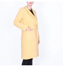 Wintervacht Duurzame lichtgele lange jas van wol