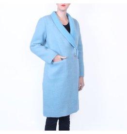 Wintervacht Duurzame lichtblauwe lange jas van wol