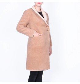 Wintervacht Duurzame beige lange jas van wol
