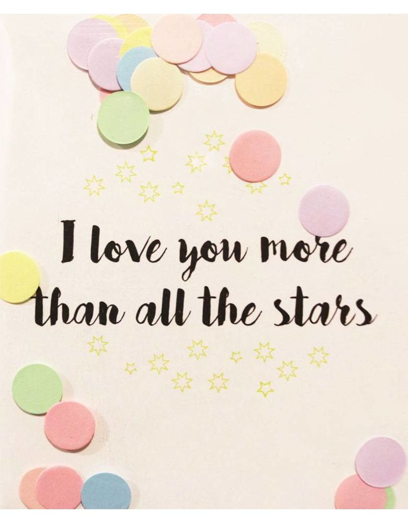 The Gift Label Confetti kaart I love you more than all the stars