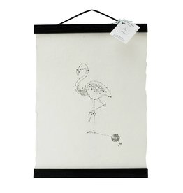 Animaal Amsterdam Flamingo print zwart frame